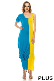 Plus Size Rayon spandex fabric color block maxi dress.