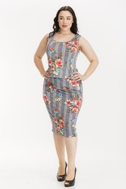 Plus Size Checker with floral print skirt set.