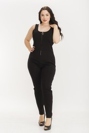 Plus Size Rayon ponti sleeveless jumpsuit.