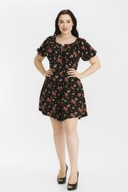 Plus Size Floral print off shoulder romper.