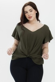 Plus Size Gauze cap sleeve band tie top.