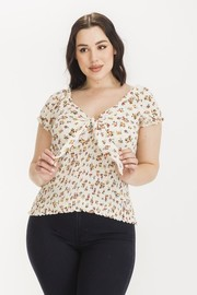 Plus Size Floral print cap sleeve with smoking top.