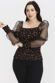 Plus Size Floral print with organza sleeve top.