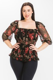 Plus Size Mesh print 3qt. Sleeve with band smoking top.