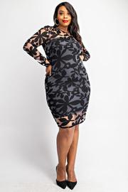 Plus Size Leaf burnout long sleeve dress.