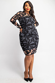 Plus Size Leaf burnout long sleeve dress.