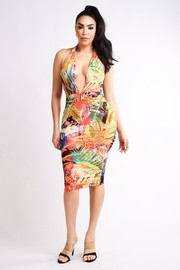 Multi tropical printed halter dress.