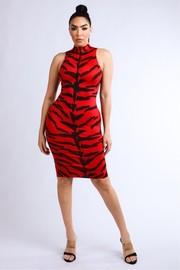 Tiger printed sleeveless dress.