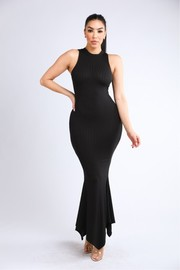 Ribbed shark bite hem tank maxi dress.