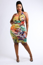 Plus Size Multi tropical printed halter dress.