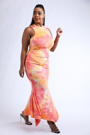 Plus Size Tie dye shark bite tank maxi dress.