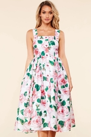 This pink rose garden print midi dress