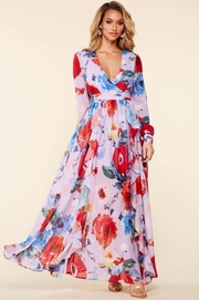 Red flower watercolor print in a lavender chiffon canvas maxi dress