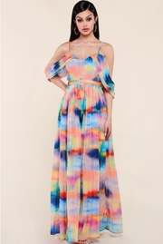 Color dreaming accordion pleated maxi dress
