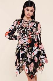 Floral print black chiffon mini dress