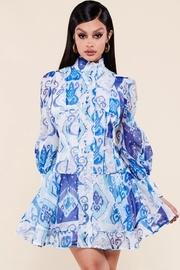 Abstract filigree print mockneck mini dress