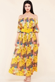 Leopard yellow mix print accordion pleated maxi dress