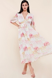 Chic and feminine spring floral button down midi dress