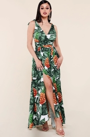 Tropical pineapple print maxi dress