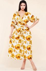 Amber flower print midi dress