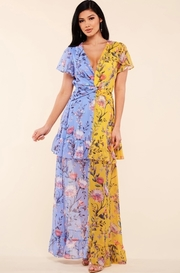 Lavender and yellow two tone floral print maxi dress