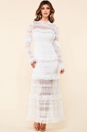 White cotton blend crochet lace maxi dress
