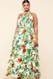 Plus Size Hibiscus tropical print maxi dress