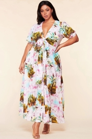 Plus Size Tie front tropical paradise print maxi dress.