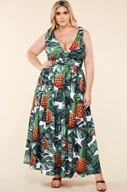 Plus Size Tropical pineapple print maxi dress