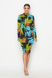Tropical printed mock neck midi dress.