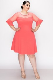 Plus Size Polka dot mesh contrast and self ruffles finished sleeve, flared skirt dress.