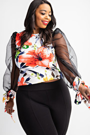 Plus Size Organza sleeve floral top.