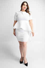 Plus Size Short sleeve asymmetric peplum dress.