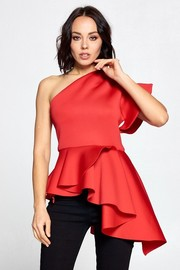 One shoulder solid fashion top.