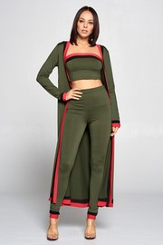 3 piece set long sleeve open front cardigan