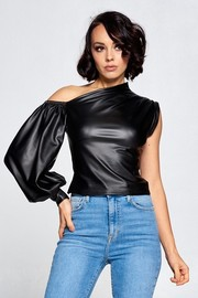 Pu fabric solid one shoulder top.