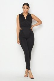 Collared sleeveless bodysuit with long legging pants.