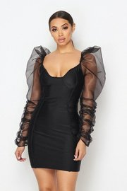 Corset bodycon dress with organza puff sleeves