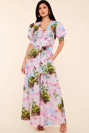 Tie front tropical paradise print maxi dress.