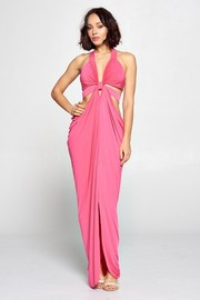Halter solid sexy maxi dress.