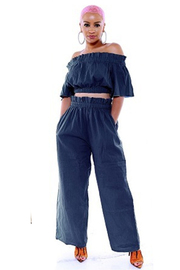 Off the shoulder crop top with wide leg pants set.