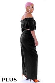 Plus Size Off the shoulder crop top with wide leg pants set.