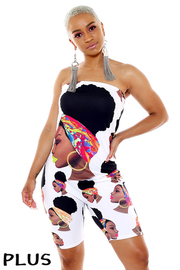 Tube top graphic bodycon jumpsuit.