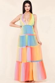 Pastel gradient print maxi dress