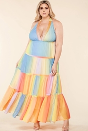 Plus Size Pastel gradient print maxi dress.