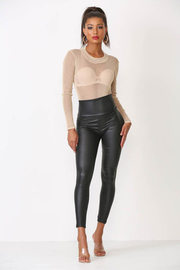 High waist faux leather leggings.