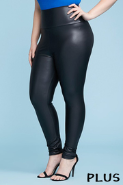 Plus Size Faux leather high waist leggings.