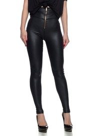 High waist moto leggings with an exposed front zipper.
