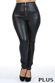 Plus Size Faux leather fitted high waist zip up bottom.