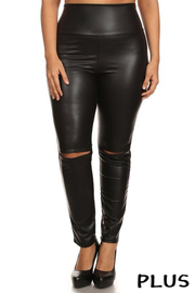 Plus Size Faux leather high waist slim leg pant with slashed knee detailing.